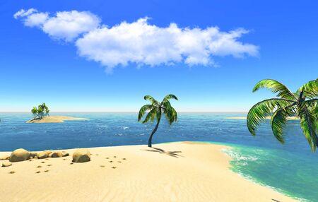 Beach, island and palms photo