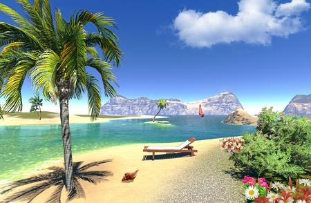 paradise lagoon with lounge photo