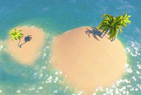 islands and palms Stock Photo