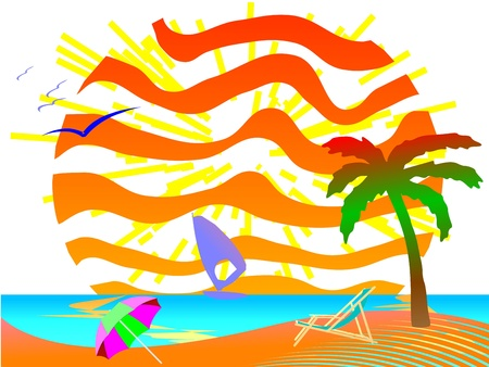 Summer beach scene - vector Illustration