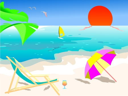 Summer beach scene - vector Vector