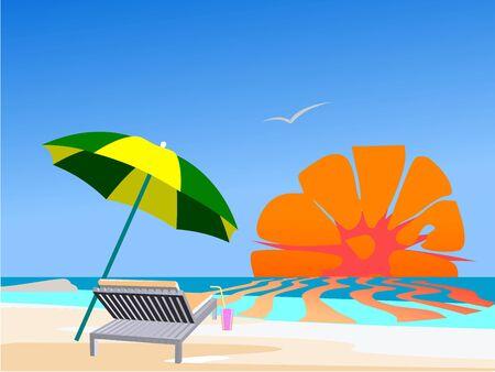 Summer beach scene - vector Illustration