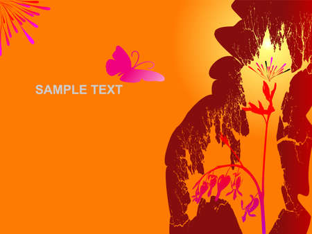 Vector grunge abstract floral background with butterfly Vector