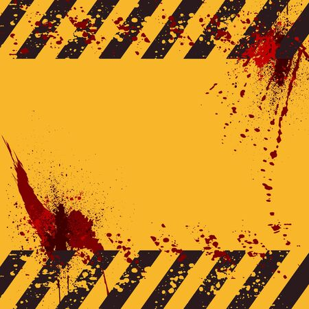 grungy warning background with hazard stripes and space for text - vector Vector