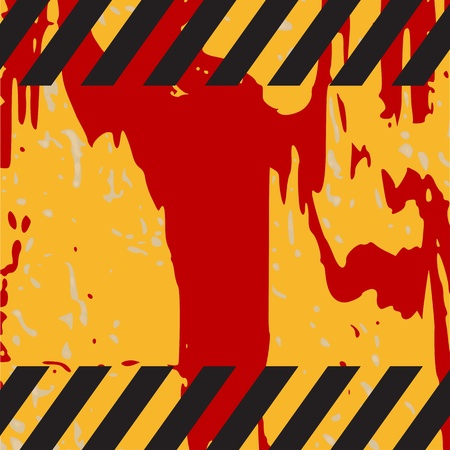grungy warning background with hazard stripes and space for text - vector Stock Vector - 13285221