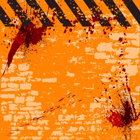 grungy warning background with hazard stripes and space for text - vector Stock Vector - 13285832