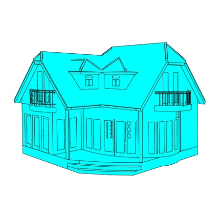 Architectural sketch of the house - vector