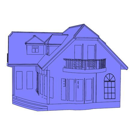 Architectural sketch of the house - vector Vector