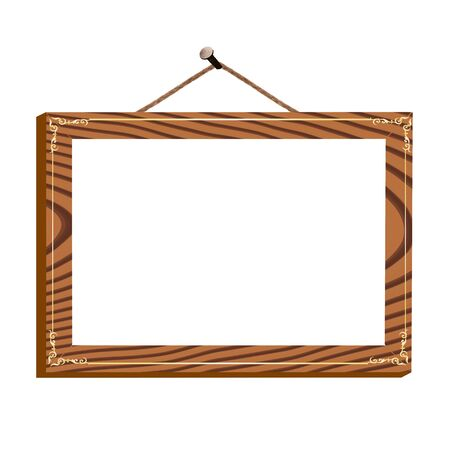 wooden frame with vintage ornament on the nail for image or text - vector Illustration