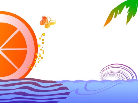 Tropical scene with butterfly - vector Vector