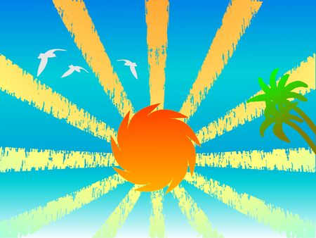 Sunset, palms and birds - vector Vector