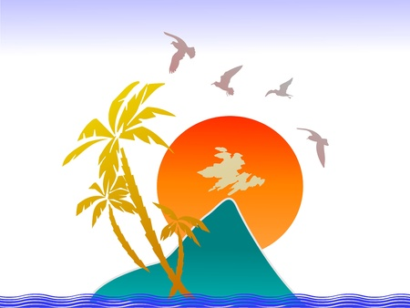 Sunset, tropical island, palms and birds - vector Vector
