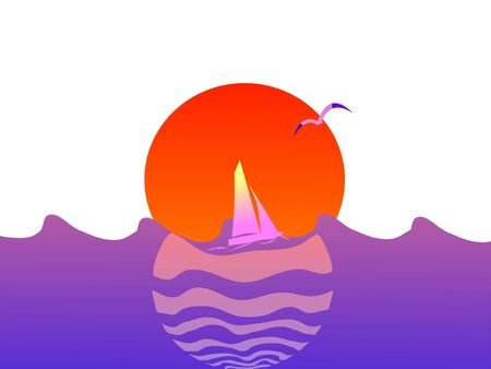 Summer sunset with yacht - vector Vector