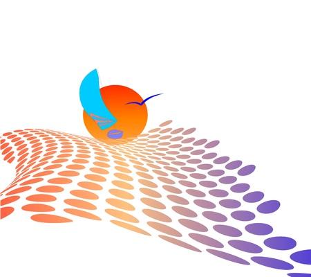полутонов фона с яхты - вектор