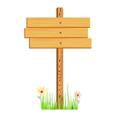 blank wooden sign Illustration