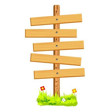 blank wooden sign - vector