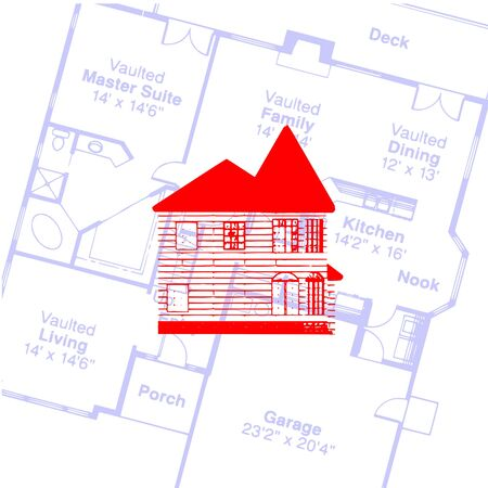 house and plan  Illustration