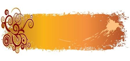 шероховатый цветные баннеры с завитками и кляксы