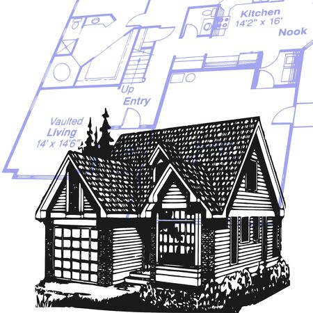 to foresee: house and plan - vector