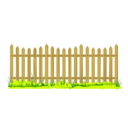 wooden fence with grass - vector