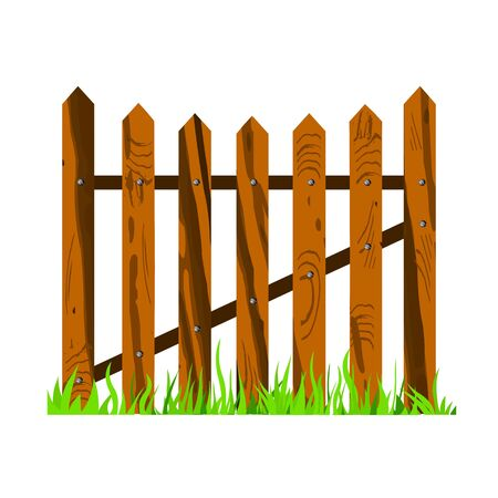 wooden fence with grass - vector Stock Vector - 13363719