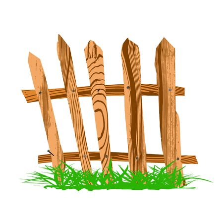 wooden fence with grass - vector Stock Vector - 13363630