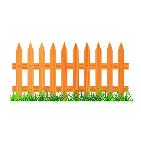 wooden fence with grass - vector Stock Vector - 13363723
