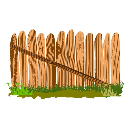 wooden fence with grass - vector Stock Vector - 13363628