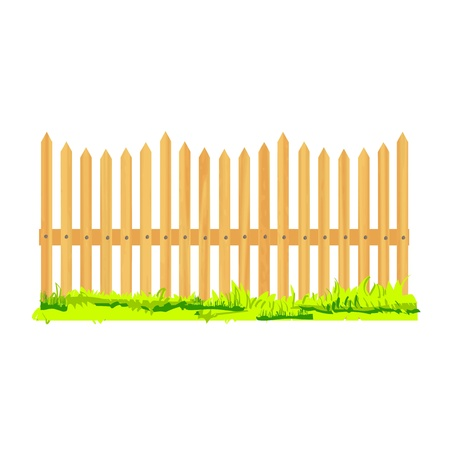 wooden fence with grass - vector Vector