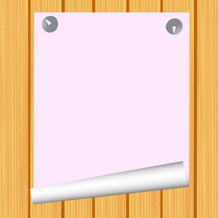 Blank paper on wood background - vector Illustration