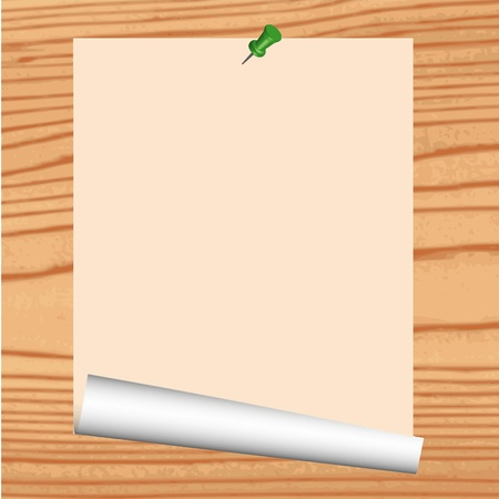 paper curl: Blank paper on wood background - vector Illustration