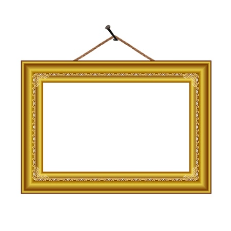 gold frame: frame with vintage ornament on the nail for image or text - vector