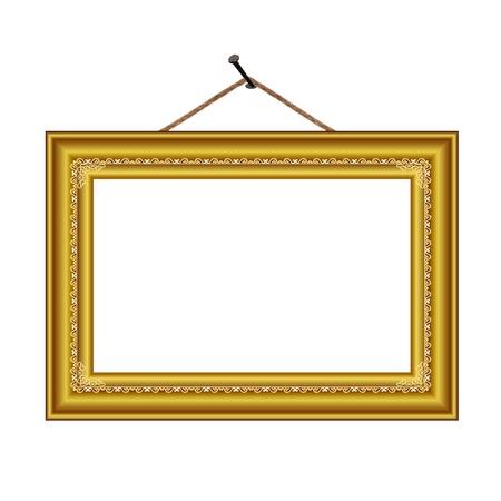 bilderrahmen gold: Rahmen mit vintage ornament auf dem Nagel f�r Bild oder Text - Vektor
