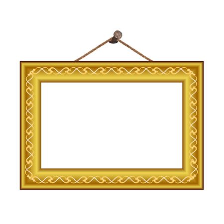 frame with vintage ornament on the nail for image or text - vector Vector