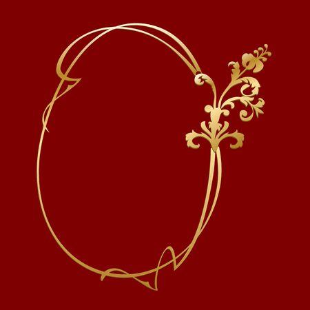 antique jewelry: gold vintage frame - vector Illustration