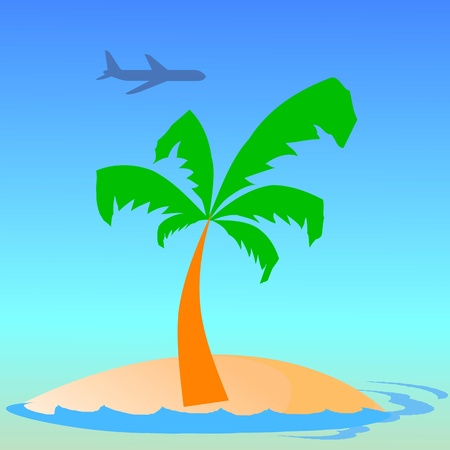 island, palm, waves and airplane - vector