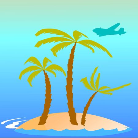breezy: island, palms, waves and airplane - vector