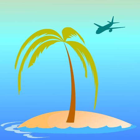 breezy: island, palm, waves and airplane - vector
