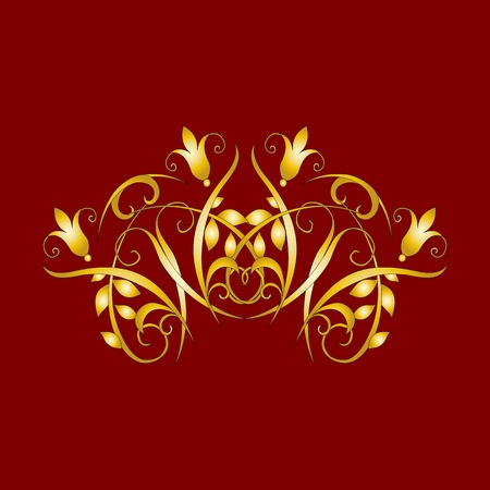 gold vintage floral decorations for design - vector Stock Vector - 13363576
