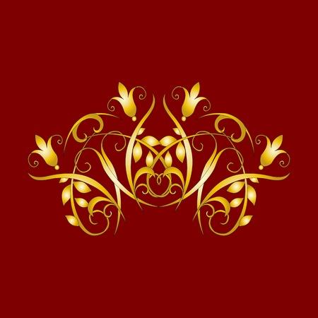 gold vintage floral decorations for design - vector Stock Vector - 13363576
