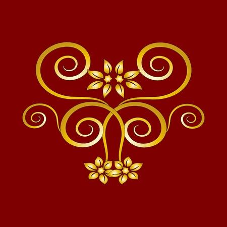 золотые старинные цветочные украшения для дизайна - векторный