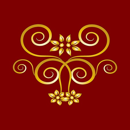 gold vintage floral decorations for design - vector