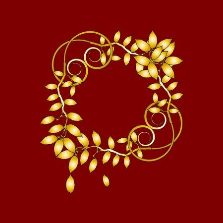gold vintage floral decorations for design - vector Vector