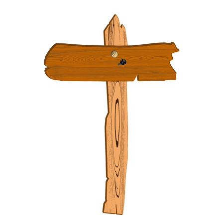 old wooden sign - vector