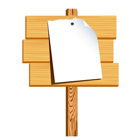 wooden billboard and blank paper - vector