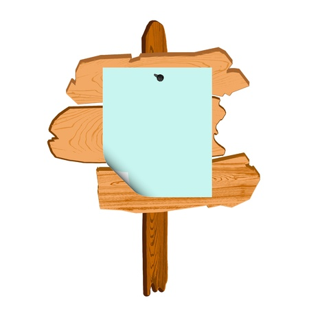 old wooden billboard and blank paper - vector Vector