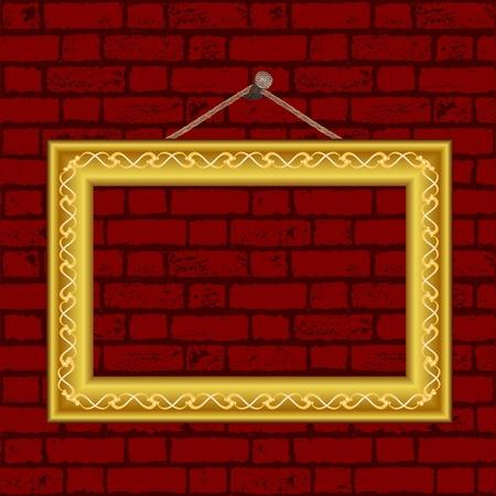 золотые старинные рамке на стене - векторный