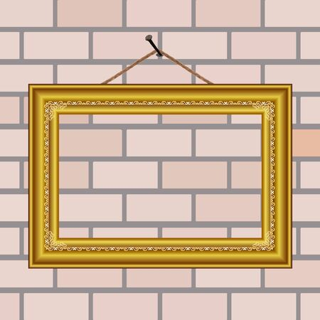 golden vintage frame on the wall - vector Vector