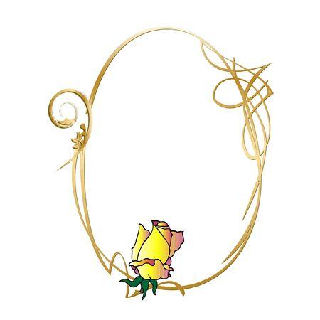 golden vintage frame and rose - vector