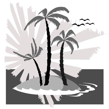 breezy: island, palm, waves and birds - vector